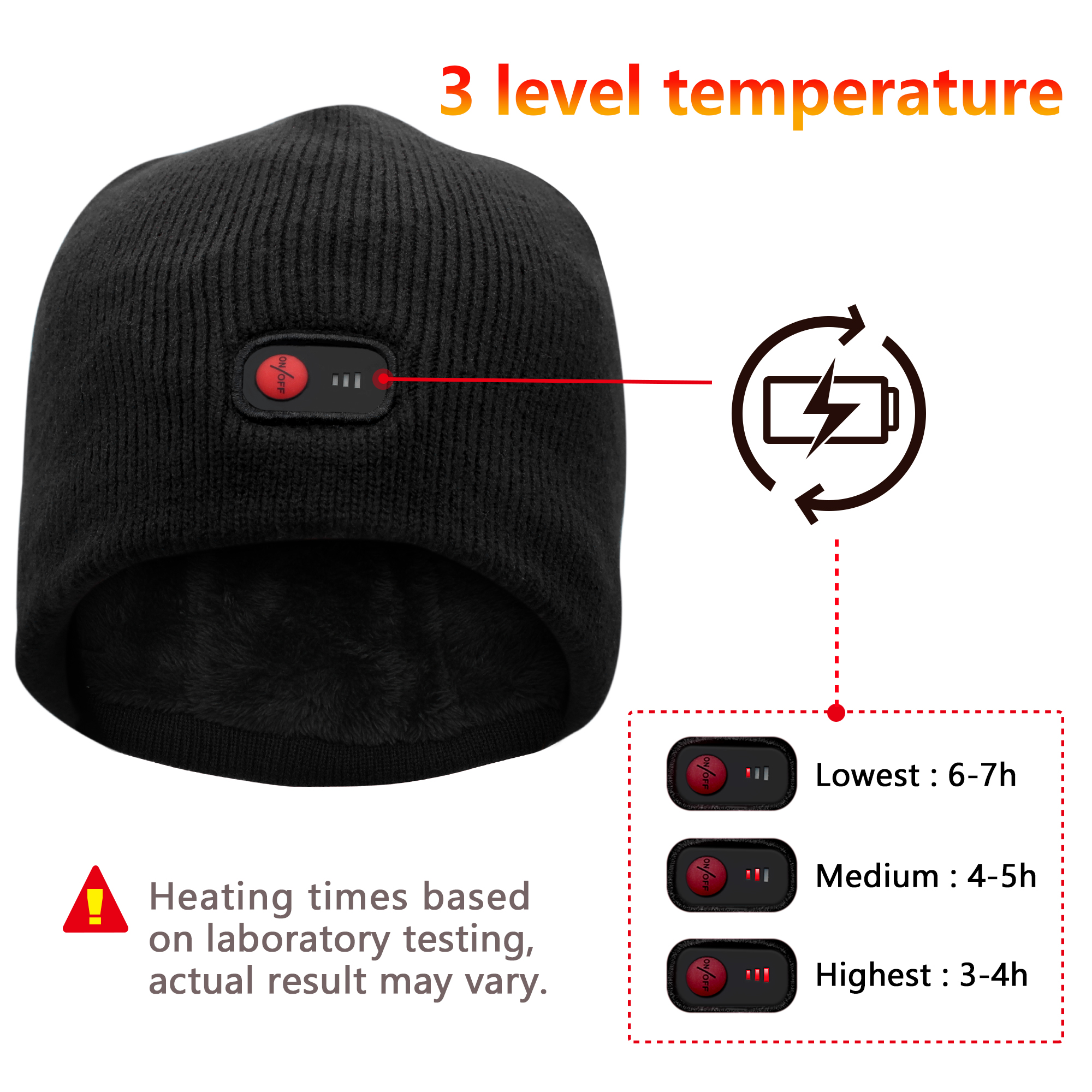 heated hat electric battery operated knit hat to skiing hiking ... 3f6f9689b66