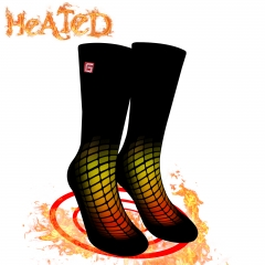 QILOVE 3.7V Heated Socks Electric Warm Thermal for Man Woman Hunting Heated Socks Battery Operated Winter Foot Warmers For Adults M/L Black