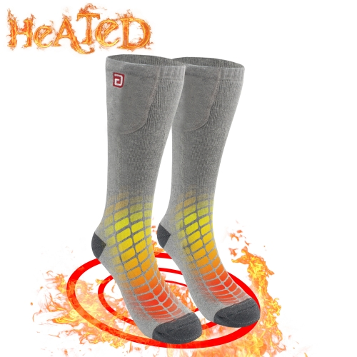 QILOVE 3.7V Heated Socks Winter Warm Unisex Knitting Soft Socks Kit for Chronically Cold Feet with Rechargeable Battery M/L Grey