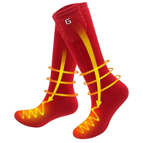 3.7V Outdoor Sports Winter Warm Socks Men Women Rechargeable Electric Battery Heated Socks Cold Weather Thermal Socks ONE SIZE Red