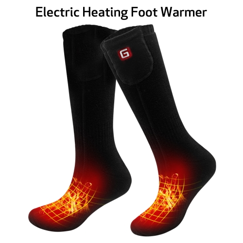 2.4V Electric Heated Socks Kit Rechargeable Battery Operated Women Men Thick Thermal Socks Foot Warmer Winter Skiing Hunting ONE SIZE Black