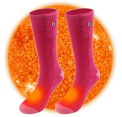 2.4V Electric Heated Socks Rechargeable Battery Operated Women Sox Thermal Foot Warmers Hunting Climbing Skiing Away from Cold ONE SIZE Pink