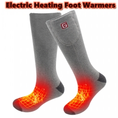 2.4v Battery Heated Socks Thermal Cozy Thick Unisex Functional Cotton Socks Foot Warmers Keep Your Foot Warm Outdoor Sports ONE SIZE Gray